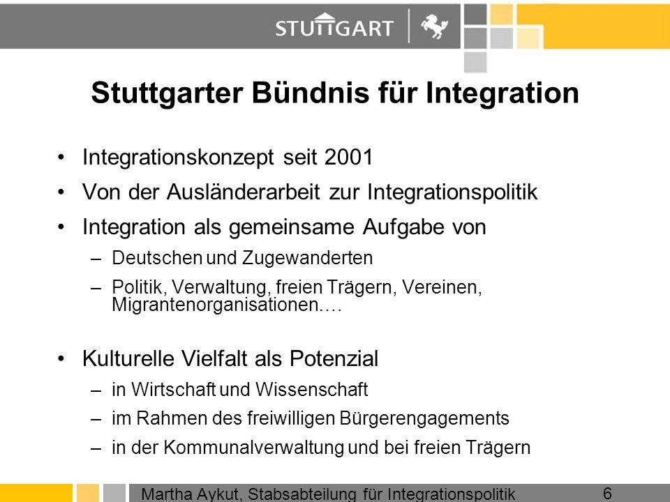 Martha Aykut, Stabsabteilung für Integrationspolitik 6 Stuttgarter Bündnis für Integration Integrationskonzept seit 2001 Von der Ausländerarbeit zur I