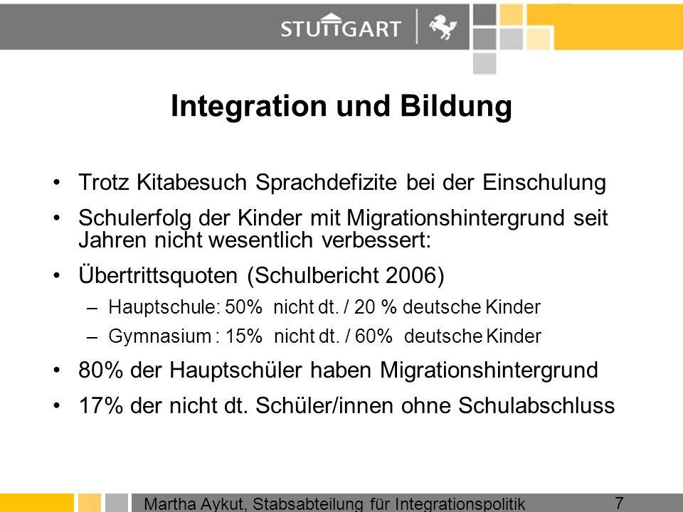 Martha Aykut, Stabsabteilung für Integrationspolitik 7 Integration und Bildung Trotz Kitabesuch Sprachdefizite bei der Einschulung Schulerfolg der Kin