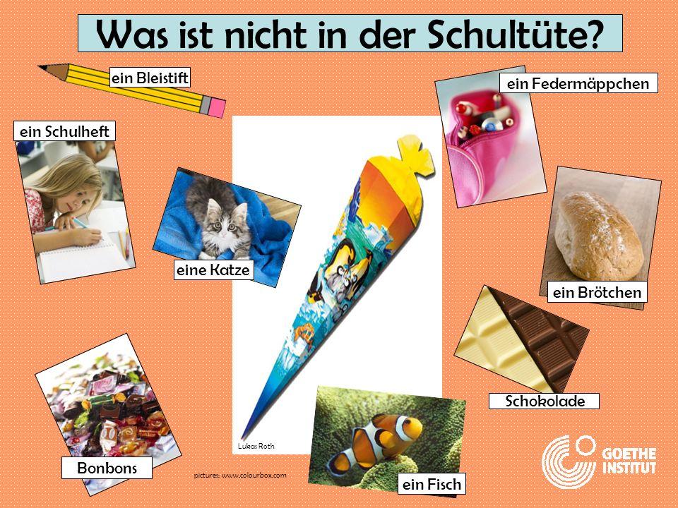 Was ist nicht in der Schultüte? ein Schulheft ein Bleistift eine Katze Bonbons ein Fisch Schokolade ein Brötchen ein Federmäppchen Lukas Roth pictures