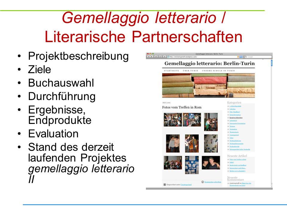 Buchmesse / Fiera del libro Projektbeschreibung Ziele Buchauswahl, Frage der Metaebene Durchführung Endprodukte, Präsentation Weiterarbeit Auswertung