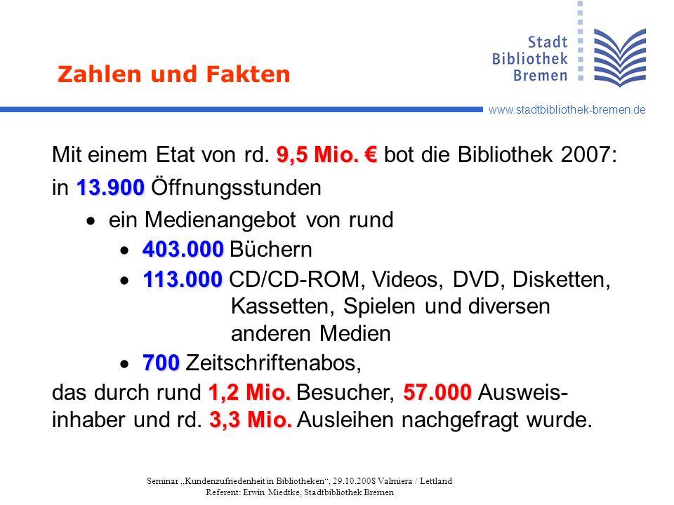 www.stadtbibliothek-bremen.de Seminar Kundenzufriedenheit in Bibliotheken, 29.10.2008 Valmiera / Lettland Referent: Erwin Miedtke, Stadtbibliothek Bremen 9,5 Mio.