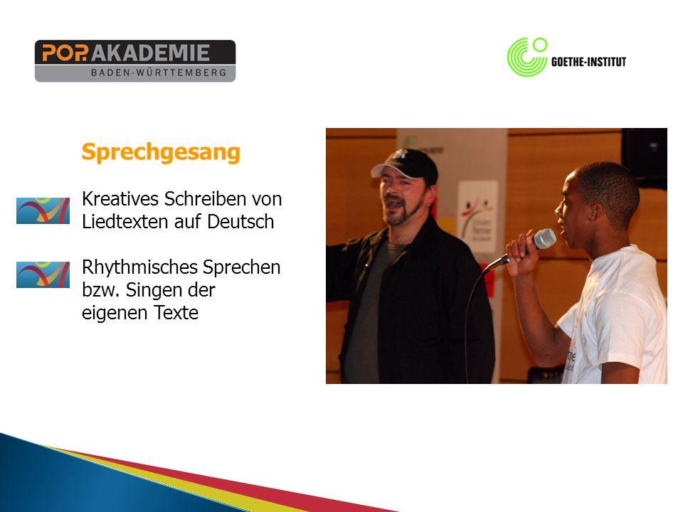 Sprechgesang Kreatives Schreiben von Liedtexten auf Deutsch Rhythmisches Sprechen bzw.