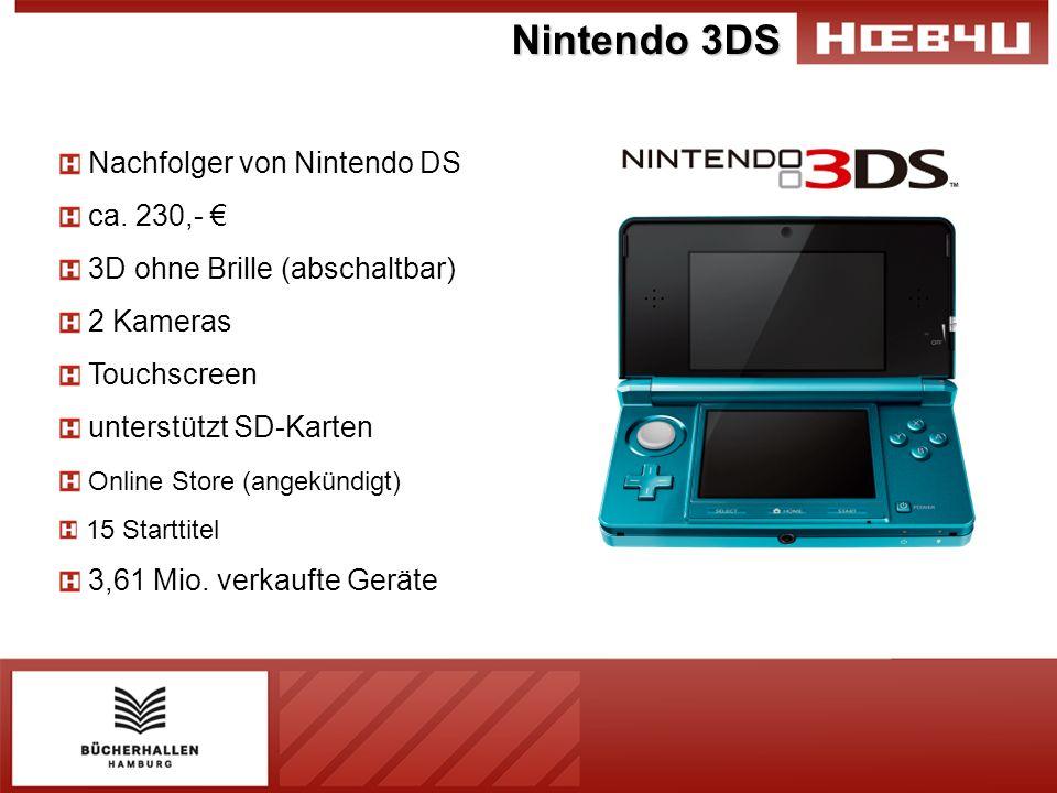 Nintendo 3DS Nachfolger von Nintendo DS ca. 230,- 3D ohne Brille (abschaltbar) 2 Kameras Touchscreen unterstützt SD-Karten Online Store (angekündigt)
