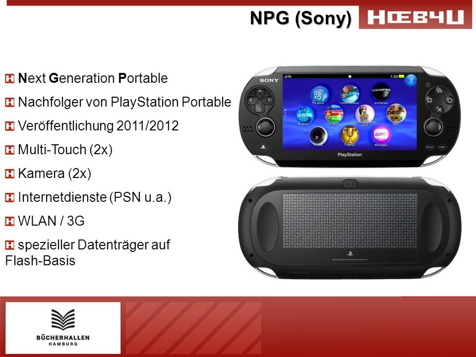 NPG (Sony) Next Generation Portable Nachfolger von PlayStation Portable Veröffentlichung 2011/2012 Multi-Touch (2x) Kamera (2x) Internetdienste (PSN u