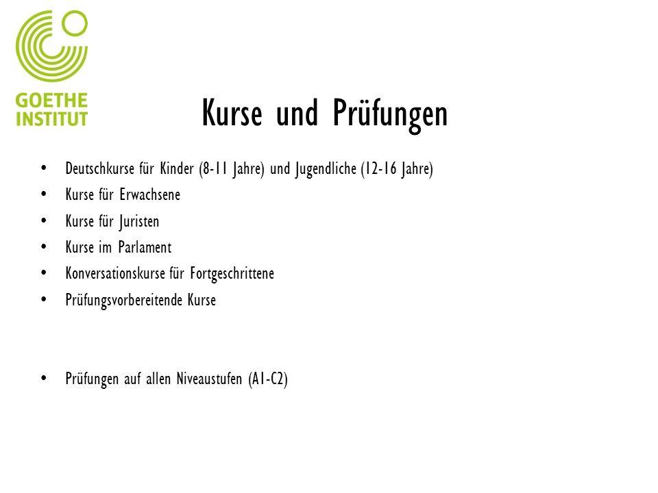 Kurse und Prüfungen Deutschkurse für Kinder (8-11 Jahre) und Jugendliche (12-16 Jahre) Kurse für Erwachsene Kurse für Juristen Kurse im Parlament Konv