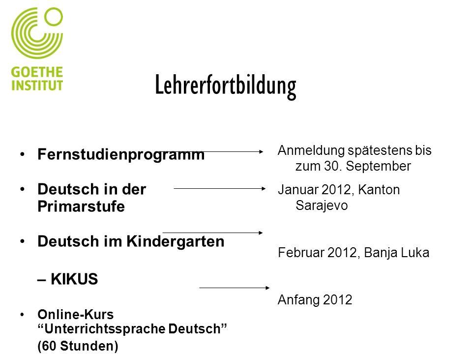 Lehrerfortbildung Fernstudienprogramm Deutsch in der Primarstufe Deutsch im Kindergarten – KIKUS Online-Kurs Unterrichtssprache Deutsch (60 Stunden) A