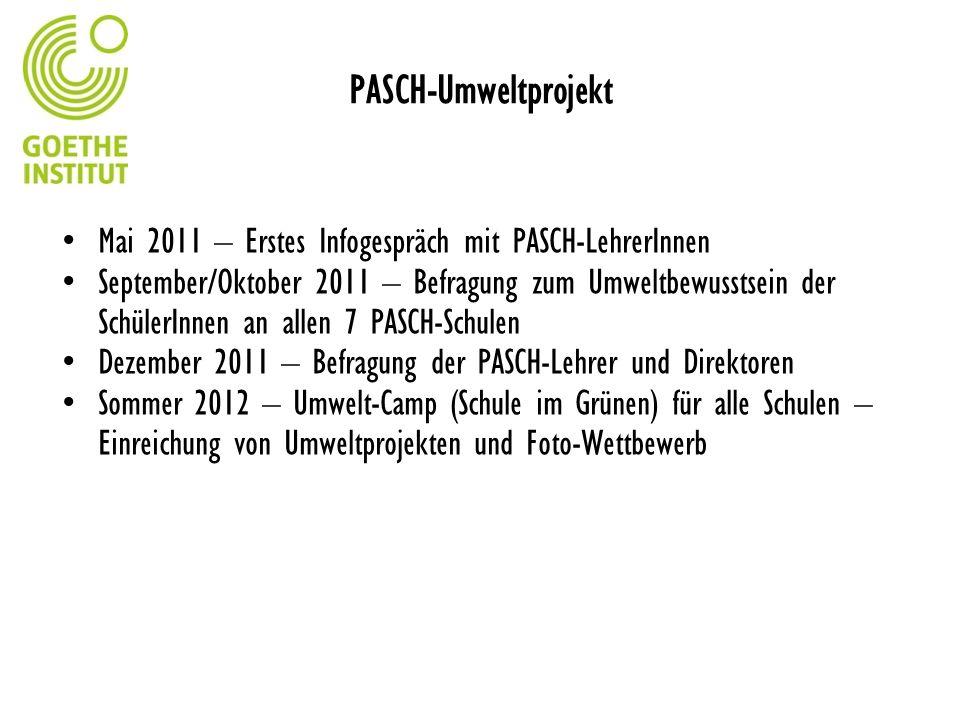 PASCH-Umweltprojekt Mai 2011 – Erstes Infogespräch mit PASCH-LehrerInnen September/Oktober 2011 – Befragung zum Umweltbewusstsein der SchülerInnen an