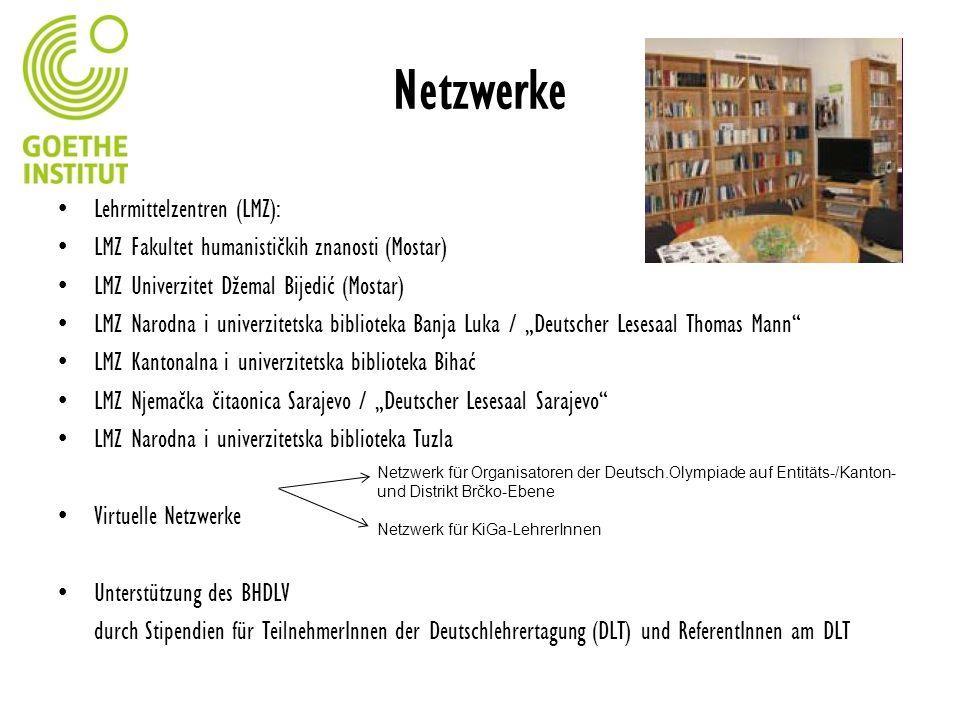 Netzwerke Lehrmittelzentren (LMZ): LMZ Fakultet humanističkih znanosti (Mostar) LMZ Univerzitet Džemal Bijedić (Mostar) LMZ Narodna i univerzitetska b