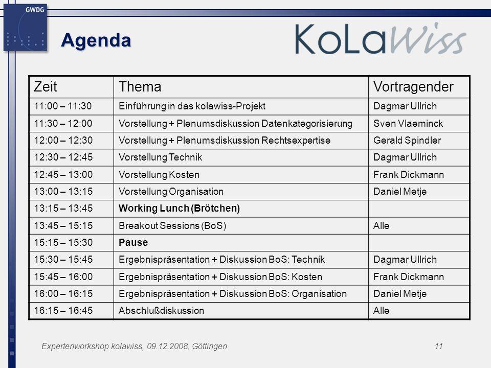 Expertenworkshop kolawiss, 09.12.2008, Göttingen11 Agenda ZeitThemaVortragender 11:00 – 11:30Einführung in das kolawiss-ProjektDagmar Ullrich 11:30 –
