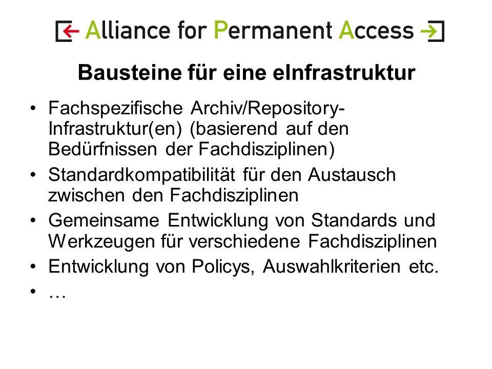 Bausteine für eine eInfrastruktur Fachspezifische Archiv/Repository- Infrastruktur(en) (basierend auf den Bedürfnissen der Fachdisziplinen) Standardkompatibilität für den Austausch zwischen den Fachdisziplinen Gemeinsame Entwicklung von Standards und Werkzeugen für verschiedene Fachdisziplinen Entwicklung von Policys, Auswahlkriterien etc.