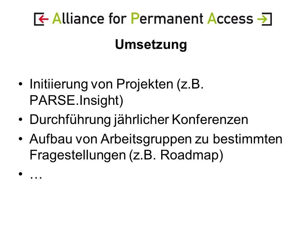 Umsetzung Initiierung von Projekten (z.B.