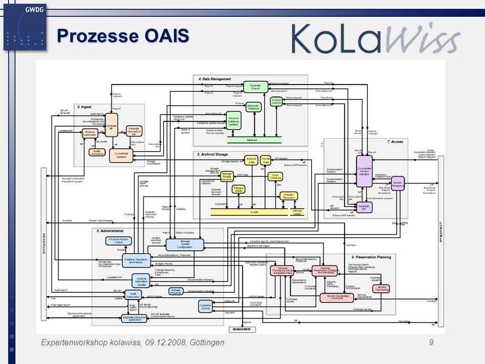 Expertenworkshop kolawiss, 09.12.2008, Göttingen9 Prozesse OAIS