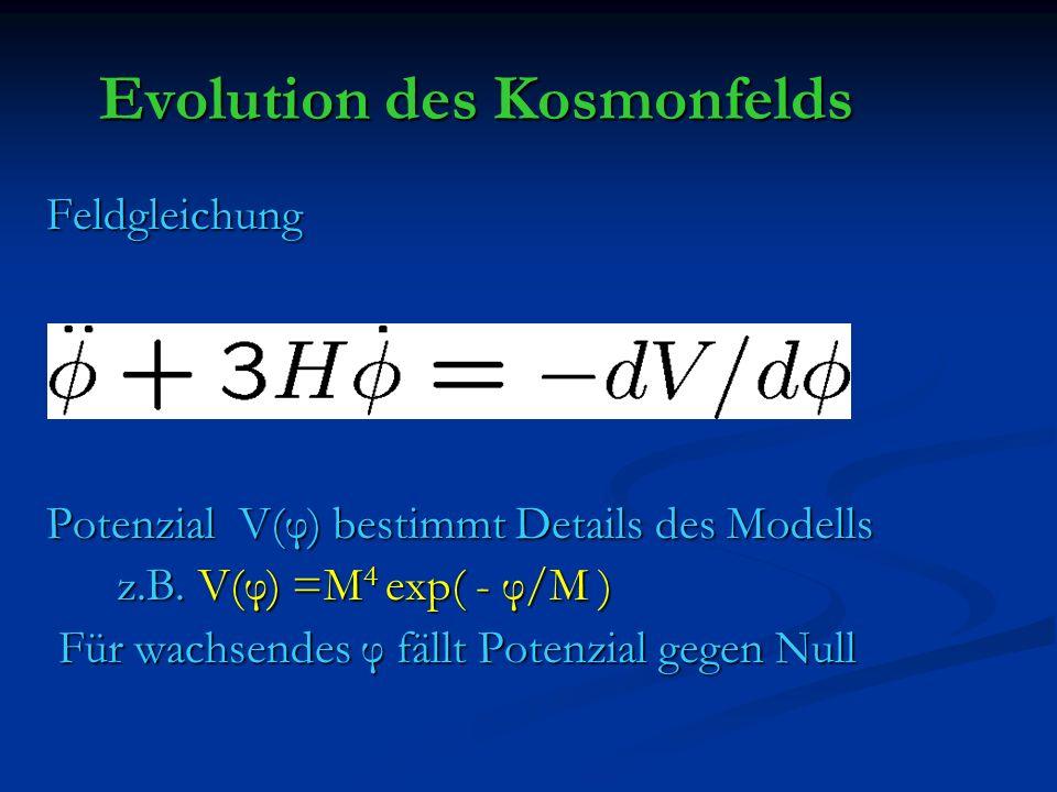 Evolution des Kosmonfelds Feldgleichung Feldgleichung Potenzial V(φ) bestimmt Details des Modells Potenzial V(φ) bestimmt Details des Modells z.B. V(φ