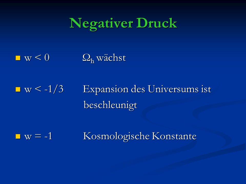 Negativer Druck w < 0 Ω h wächst w < 0 Ω h wächst w < -1/3 Expansion des Universums ist w < -1/3 Expansion des Universums ist beschleunigt beschleunigt w = -1 Kosmologische Konstante w = -1 Kosmologische Konstante