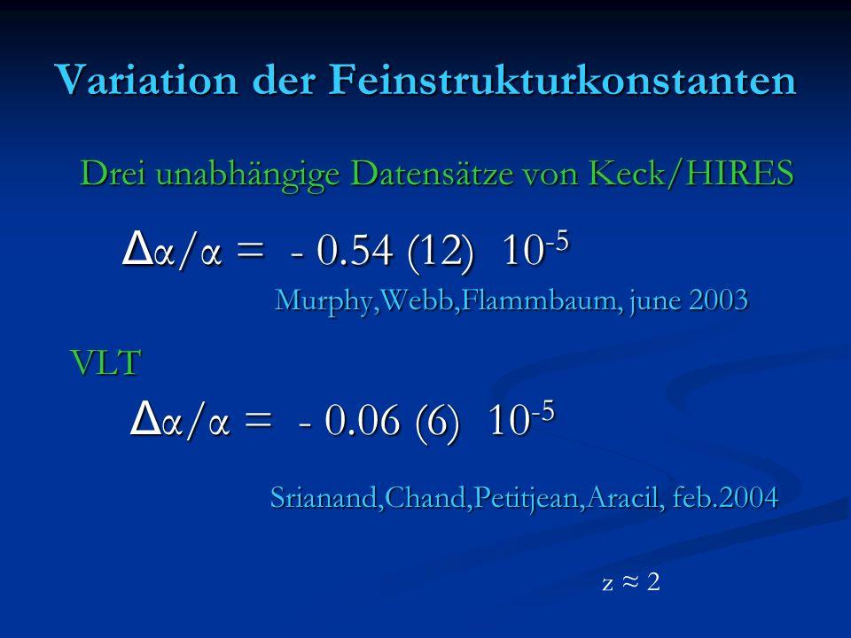 Variation der Feinstrukturkonstanten Drei unabhängige Datensätze von Keck/HIRES Drei unabhängige Datensätze von Keck/HIRES Δ α/α = - 0.54 (12) 10 -5 Δ α/α = - 0.54 (12) 10 -5 Murphy,Webb,Flammbaum, june 2003 Murphy,Webb,Flammbaum, june 2003 VLT VLT Δ α/α = - 0.06 (6) 10 -5 Δ α/α = - 0.06 (6) 10 -5 Srianand,Chand,Petitjean,Aracil, feb.2004 Srianand,Chand,Petitjean,Aracil, feb.2004 z 2