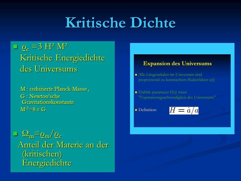 Kritische Dichte ρ c =3 H² M² ρ c =3 H² M² Kritische Energiedichte Kritische Energiedichte des Universums des Universums M : reduzierte Planck-Masse,