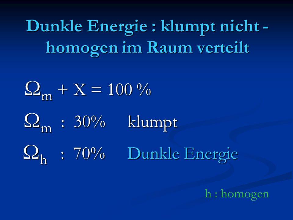 Dunkle Energie : klumpt nicht - homogen im Raum verteilt Ω m + X = 100 % Ω m + X = 100 % Ω m : 30% klumpt Ω m : 30% klumpt Ω h : 70% Dunkle Energie Ω