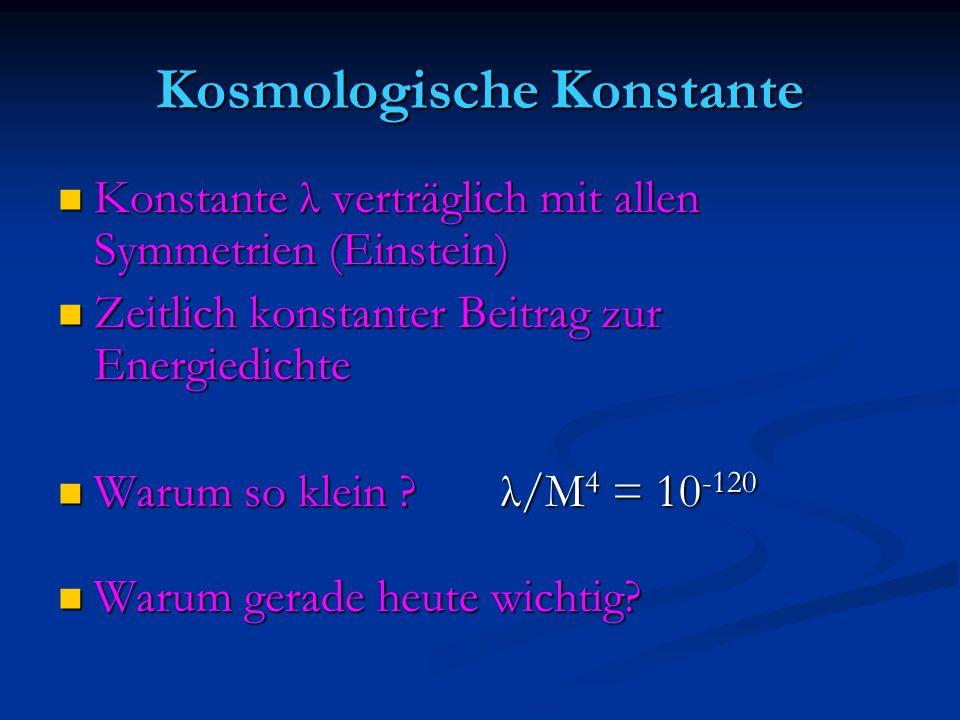 Kosmologische Konstante Konstante λ verträglich mit allen Symmetrien (Einstein) Konstante λ verträglich mit allen Symmetrien (Einstein) Zeitlich konst