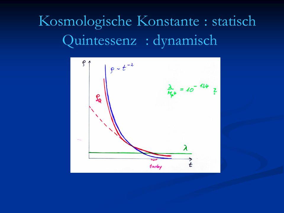 Zeitentwicklung ρ m /M 4 ~ aˉ ³ ~ ρ m /M 4 ~ aˉ ³ ~ ρ r /M 4 ~ aˉ 4 ~ t -2 ρ r /M 4 ~ aˉ 4 ~ t -2 Strahlungsdominiertes Universum Grosses Alter kleine Grössen Grosses Alter kleine Grössen Gleiche Erklärung für dunkle Energie .