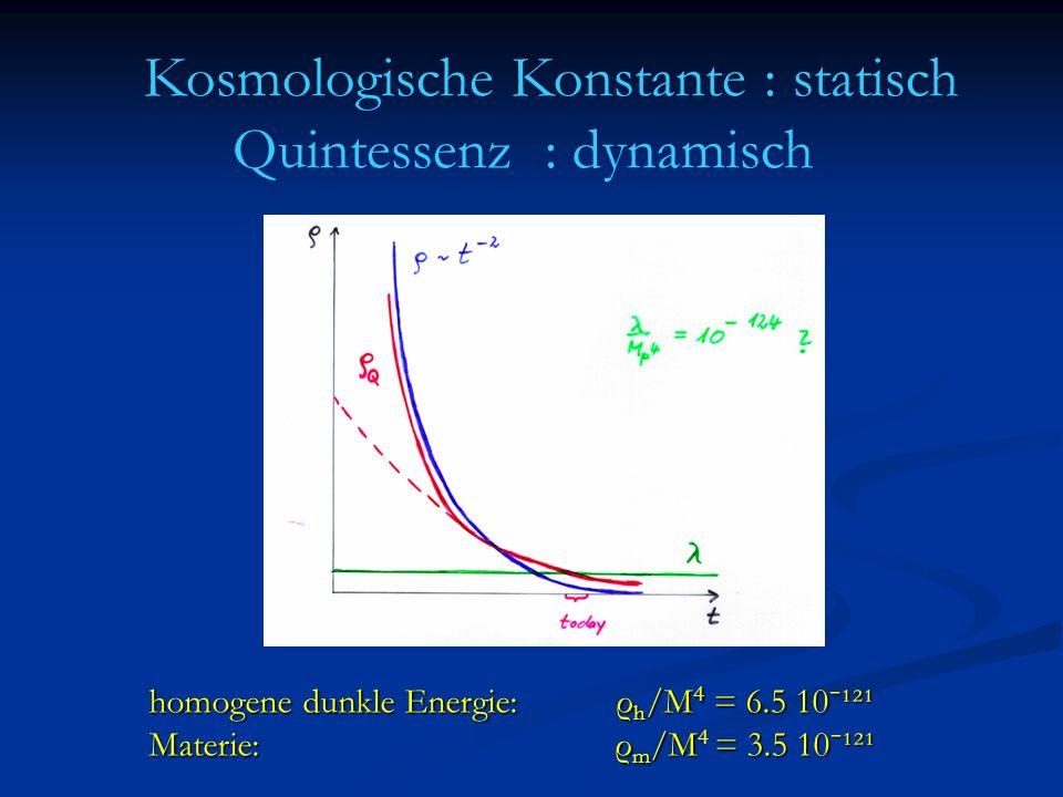 Kosmologische Konstante : statisch Quintessenz : dynamisch homogene dunkle Energie: ρ h /M 4 = 6.5 10ˉ¹²¹ Materie: ρ m /M= 3.5 10ˉ¹²¹ Materie: ρ m /M