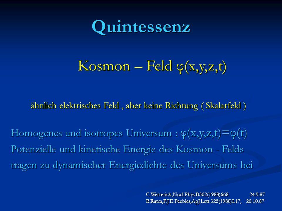 Quintessenz C.Wetterich,Nucl.Phys.B302(1988)668 24.9.87 B.Ratra,P.J.E.Peebles,ApJ.Lett.325(1988)L17, 20.10.87 Kosmon – Feld φ(x,y,z,t) Kosmon – Feld φ