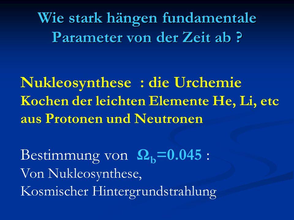 Nukleosynthese : die Urchemie Kochen der leichten Elemente He, Li, etc aus Protonen und Neutronen Bestimmung von Ω b =0.045 : Von Nukleosynthese, Kosm
