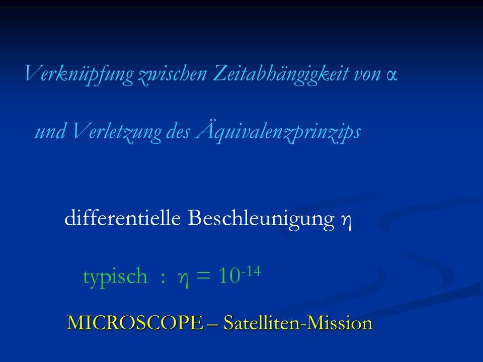 Zusammenfassung o Ω h : 70 % des Universums besteht aus Dunkler Energie Dunkler Energie o Q/Λ : dynamische und statische dunkle Energie unterscheidbar dunkle Energie unterscheidbar o Q : zeitlich veränderliche fundamentale Kopplungen, fundamentale Kopplungen, scheinbare Verletzung des Äquivalenzprinzips scheinbare Verletzung des Äquivalenzprinzips