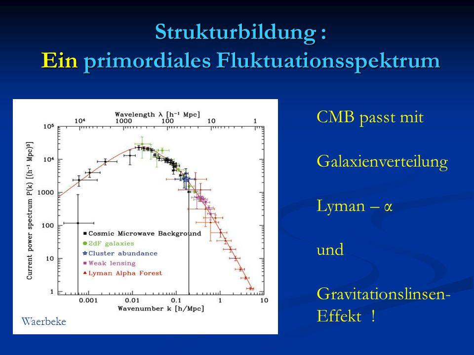 Strukturbildung : Ein primordiales Fluktuationsspektrum Waerbeke CMB passt mit Galaxienverteilung Lyman – α und Gravitationslinsen- Effekt !