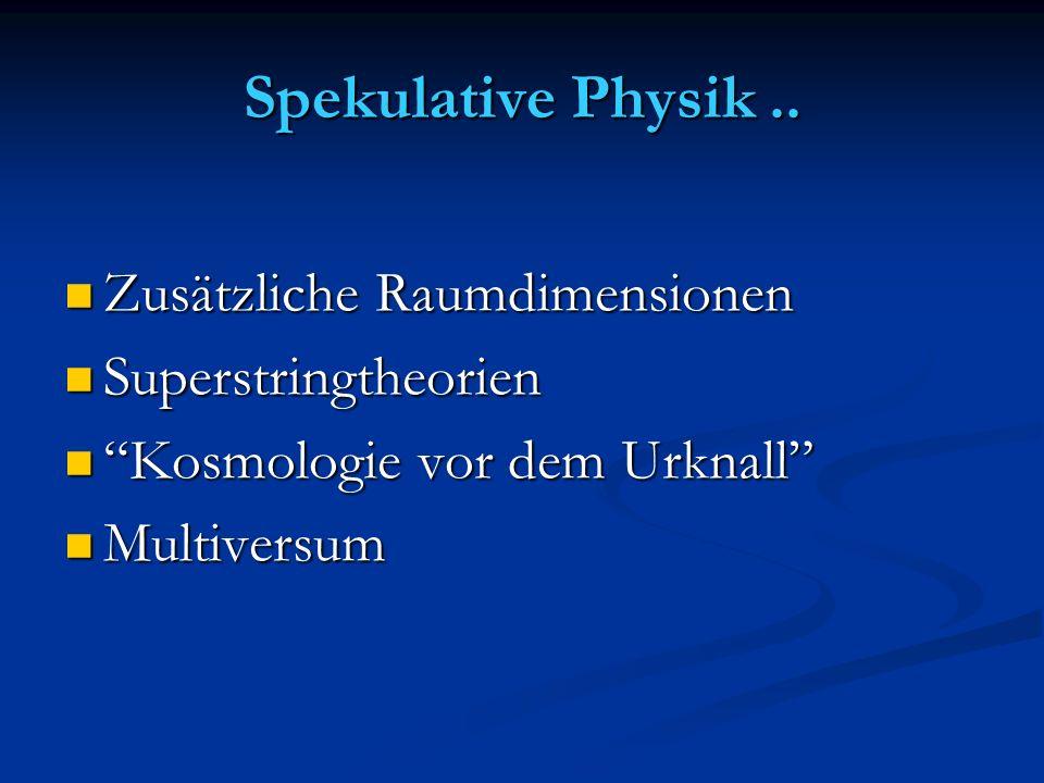Spekulative Physik.. Zusätzliche Raumdimensionen Zusätzliche Raumdimensionen Superstringtheorien Superstringtheorien Kosmologie vor dem Urknall Kosmol