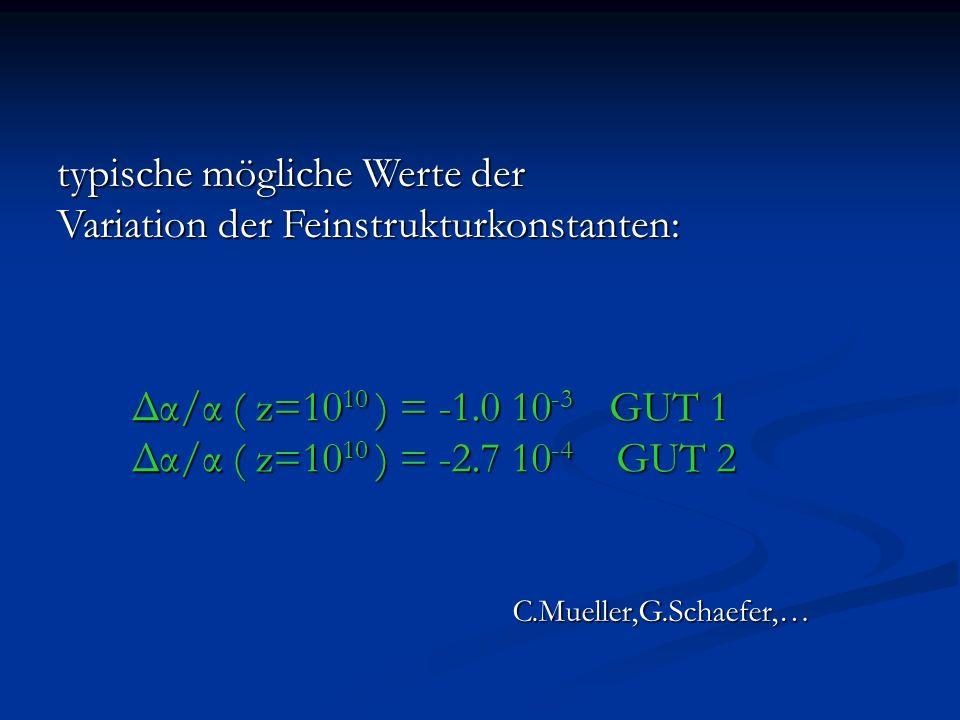 typische mögliche Werte der Variation der Feinstrukturkonstanten: Δα/α ( z=10 10 ) = -1.0 10 -3 GUT 1 Δα/α ( z=10 10 ) = -2.7 10 -4 GUT 2 C.Mueller,G.