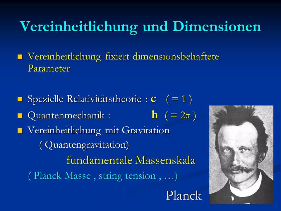 Vereinheitlichung und Dimensionen Vereinheitlichung fixiert dimensionsbehaftete Parameter Vereinheitlichung fixiert dimensionsbehaftete Parameter Spez
