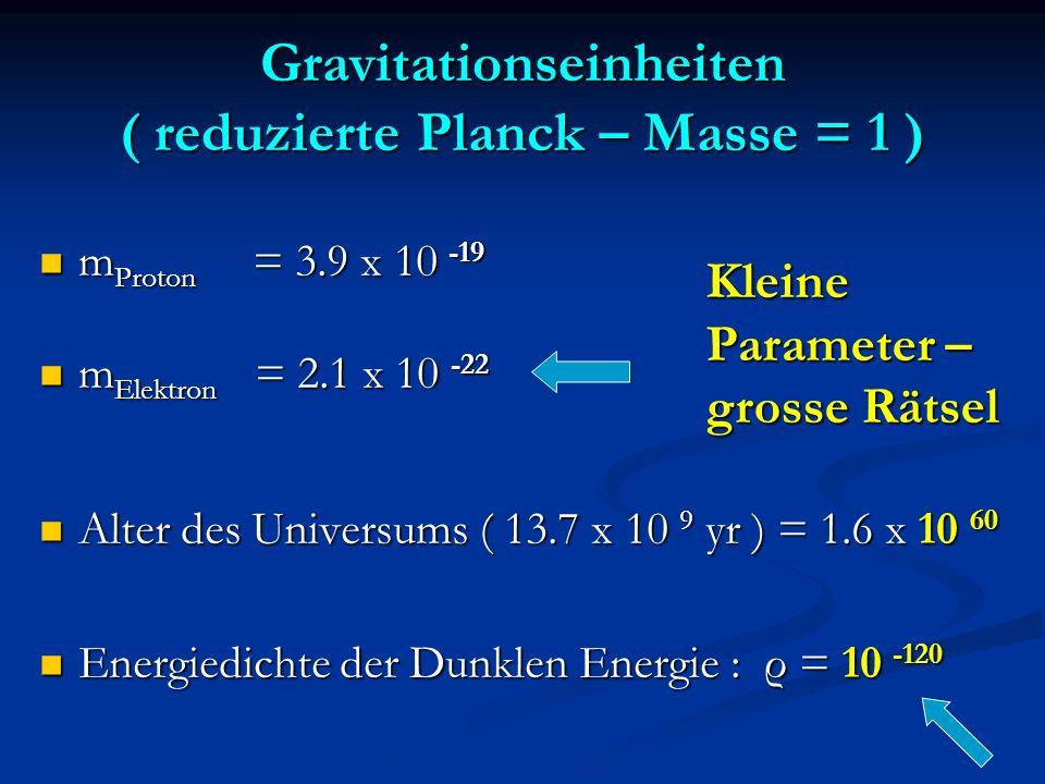 Gravitationseinheiten ( reduzierte Planck – Masse = 1 ) m Proton = 3.9 x 10 -19 m Proton = 3.9 x 10 -19 m Elektron = 2.1 x 10 -22 m Elektron = 2.1 x 1