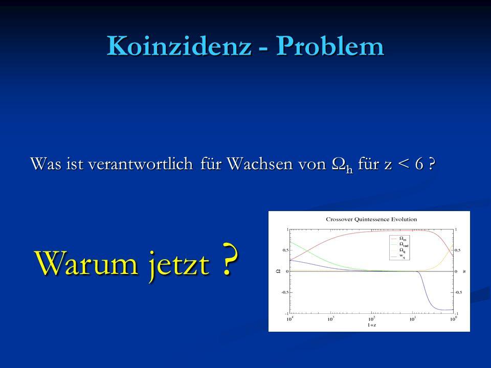 Koinzidenz - Problem Was ist verantwortlich für Wachsen von Ω h für z < 6 ? Warum jetzt ?