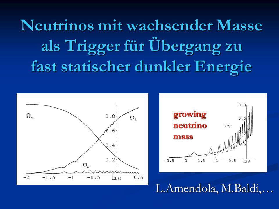 Neutrinos mit wachsender Masse als Trigger für Übergang zu fast statischer dunkler Energie growingneutrinomass L.Amendola, M.Baldi,…