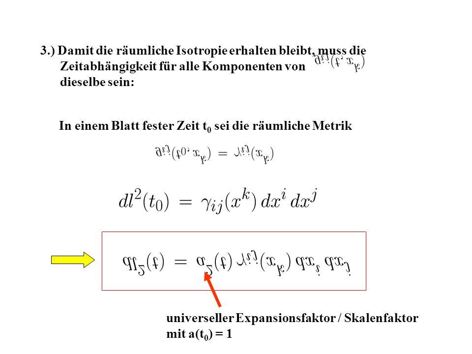 3.) Damit die räumliche Isotropie erhalten bleibt, muss die Zeitabhängigkeit für alle Komponenten von dieselbe sein: In einem Blatt fester Zeit t 0 sei die räumliche Metrik universeller Expansionsfaktor / Skalenfaktor mit a(t 0 ) = 1