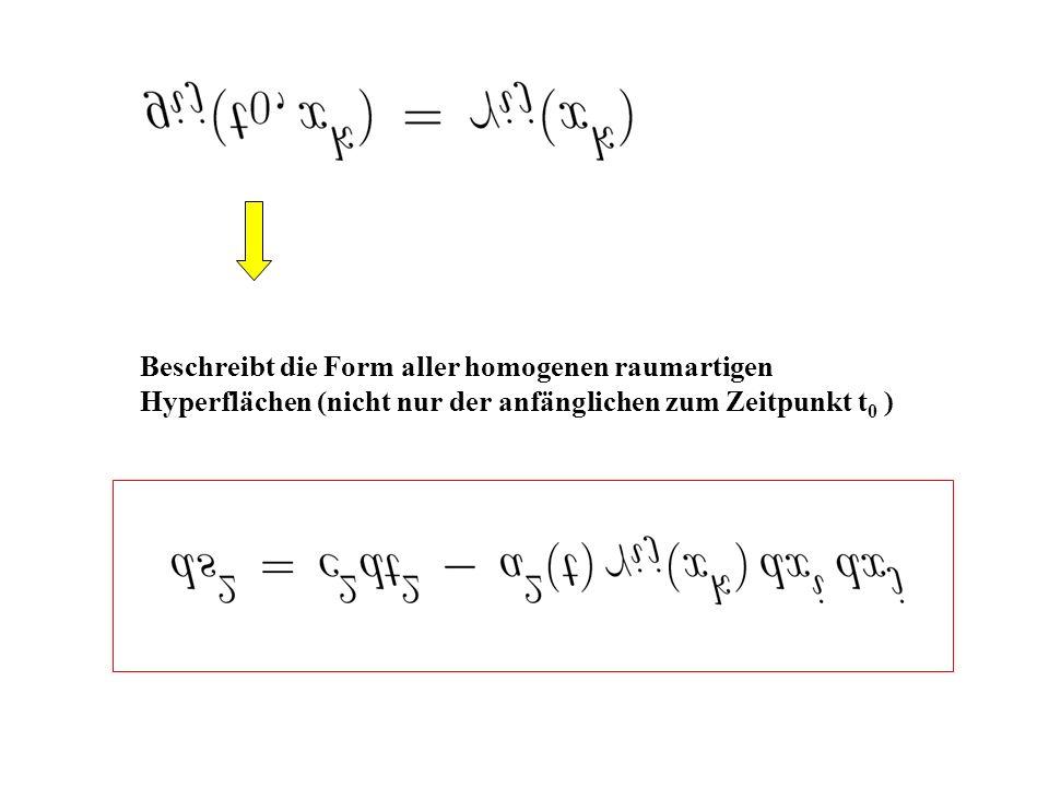 Beschreibt die Form aller homogenen raumartigen Hyperflächen (nicht nur der anfänglichen zum Zeitpunkt t 0 )