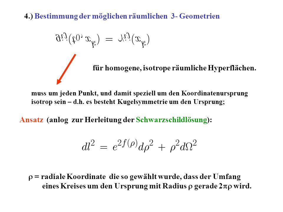 4.) Bestimmung der möglichen räumlichen 3- Geometrien für homogene, isotrope räumliche Hyperflächen. muss um jeden Punkt, und damit speziell um den Ko