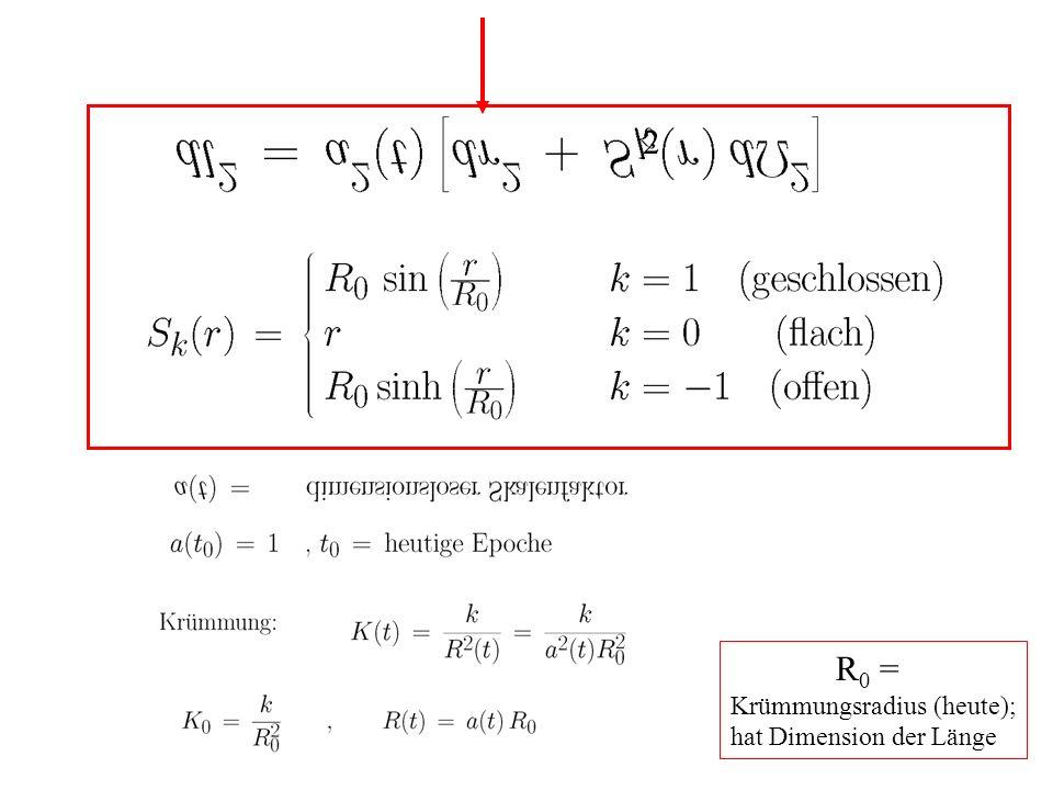 R 0 = Krümmungsradius (heute); hat Dimension der Länge 2