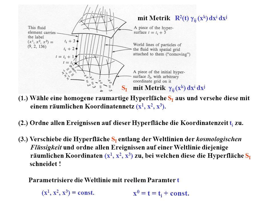 (1.) Wähle eine homogene raumartige Hyperlfäche S I aus und versehe diese mit einem räumlichen Koordinatennetz (x 1, x 2, x 3 ). (2.) Ordne allen Erei