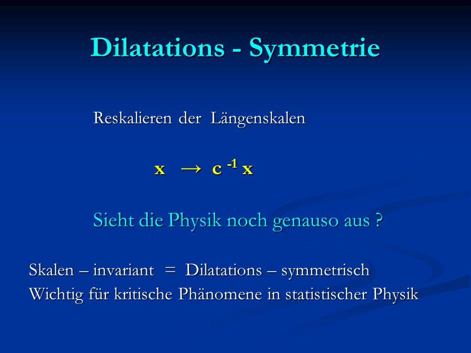 Dilatations - Symmetrie Reskalieren der Längenskalen Reskalieren der Längenskalen x c -1 x x c -1 x Sieht die Physik noch genauso aus ? Sieht die Phys