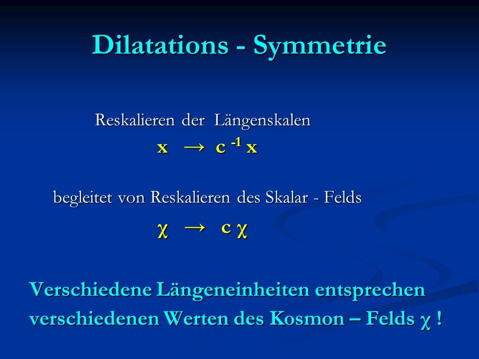 Dilatations - Symmetrie Reskalieren der Längenskalen Reskalieren der Längenskalen x c -1 x x c -1 x begleitet von Reskalieren des Skalar - Felds begle