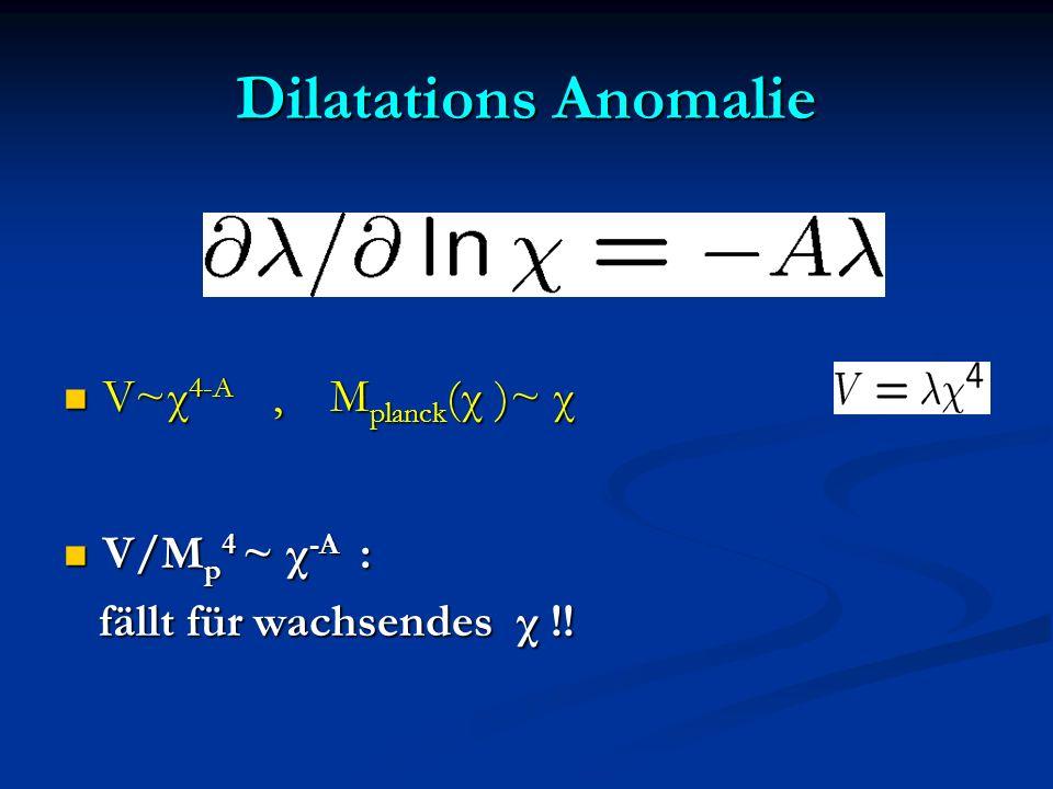 Dilatations Anomalie V~χ 4-A, M planck (χ )~ χ V~χ 4-A, M planck (χ )~ χ V/M p 4 ~ χ -A : V/M p 4 ~ χ -A : fällt für wachsendes χ !! fällt für wachsen