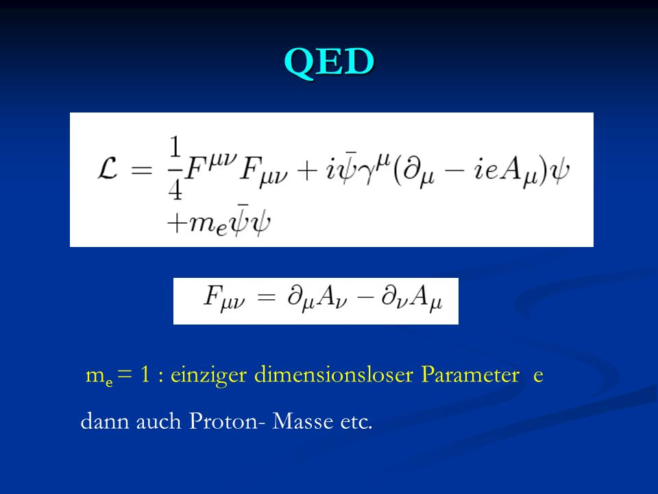 Kosmon und Fundamentale Massen - Skalen Annahme : Alle Parameter mit Dimension Masse sind proportional zu Skalar - Feld χ (GUTs, Superstrings,…) Annahme : Alle Parameter mit Dimension Masse sind proportional zu Skalar - Feld χ (GUTs, Superstrings,…) M ~ χ, m proton ~ χ, Λ QCD ~ χ, M W ~ χ M ~ χ, m proton ~ χ, Λ QCD ~ χ, M W ~ χ χ kann sich mit der Zeit ändern χ kann sich mit der Zeit ändern m proton /M : ( fast ) konstant - Beobachtung .