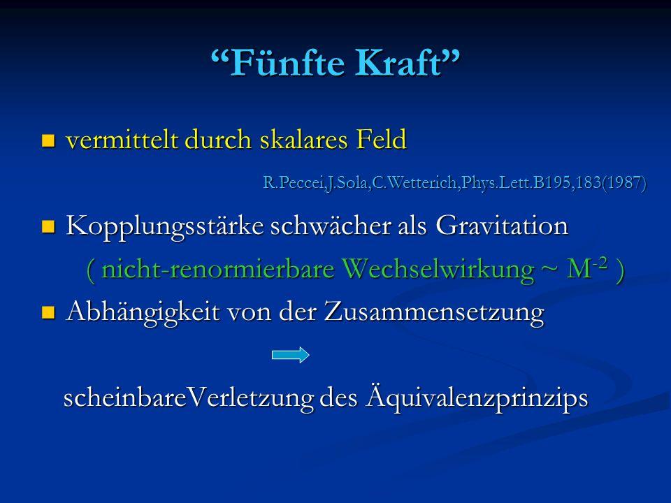 Fünfte Kraft vermittelt durch skalares Feld vermittelt durch skalares Feld Kopplungsstärke schwächer als Gravitation Kopplungsstärke schwächer als Gra