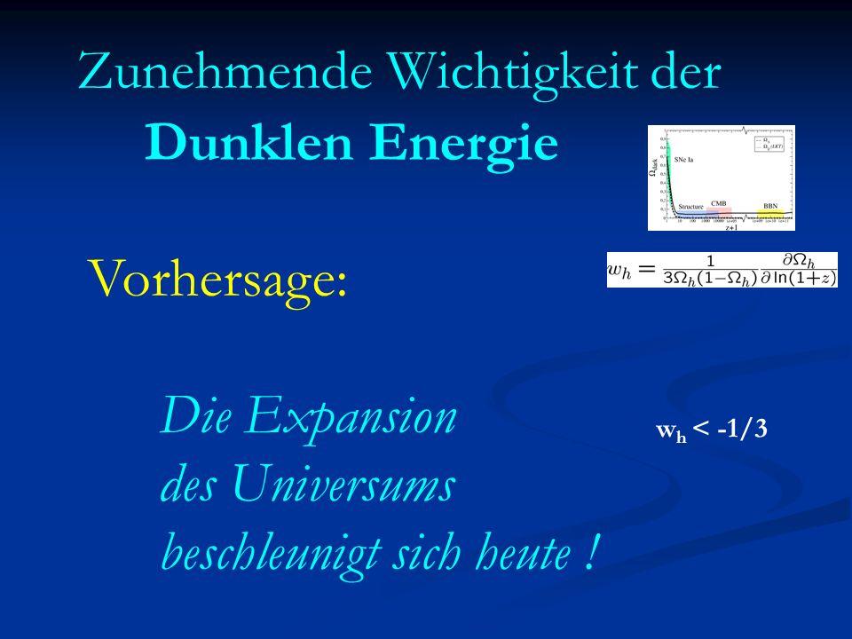 Zunehmende Wichtigkeit der Dunklen Energie Vorhersage: Die Expansion des Universums beschleunigt sich heute ! w h < -1/3