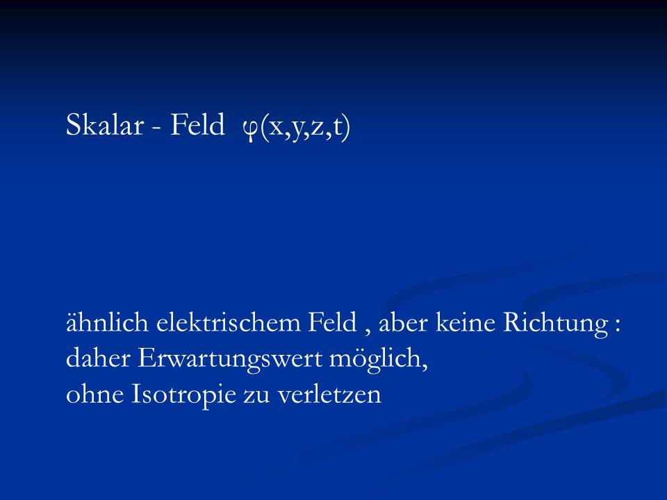 Dilatations – symmetrische Gravitationstheorie Lagrange Dichte: Lagrange Dichte: Dilatations - Symmetrie für Dilatations - Symmetrie für Konforme Symmetrie für δ=0 Konforme Symmetrie für δ=0