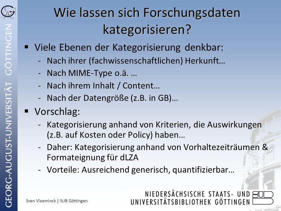 Sven Vlaeminck | SUB Göttingen Wie lassen sich Forschungsdaten kategorisieren? Viele Ebenen der Kategorisierung denkbar: -Nach ihrer (fachwissenschaft