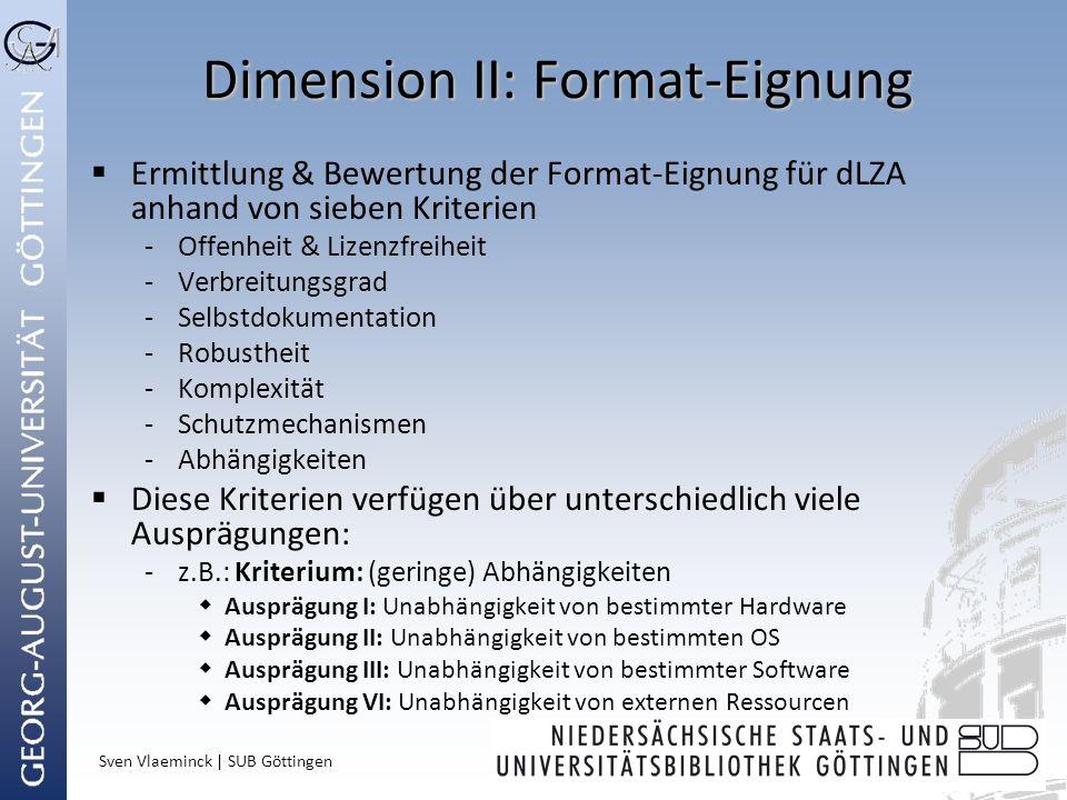 Sven Vlaeminck | SUB Göttingen Dimension II: Format-Eignung Ermittlung & Bewertung der Format-Eignung für dLZA anhand von sieben Kriterien -Offenheit