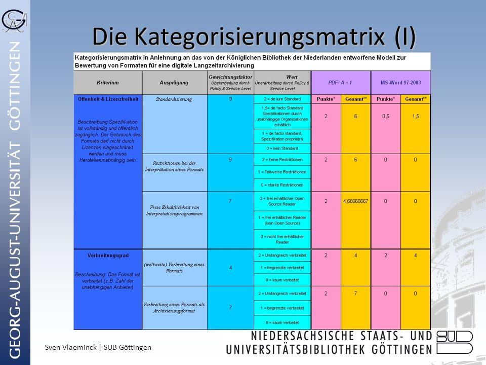 Sven Vlaeminck | SUB Göttingen Die Kategorisierungsmatrix (I)