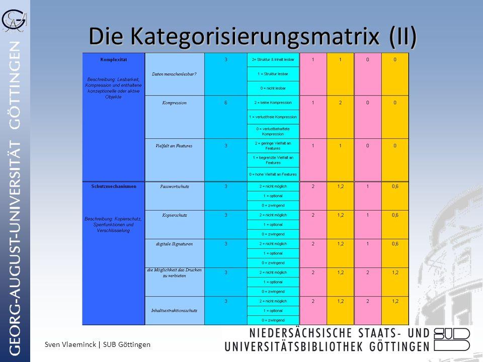Sven Vlaeminck | SUB Göttingen Die Kategorisierungsmatrix (II)